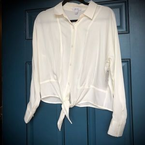 White Nine West silky blouse